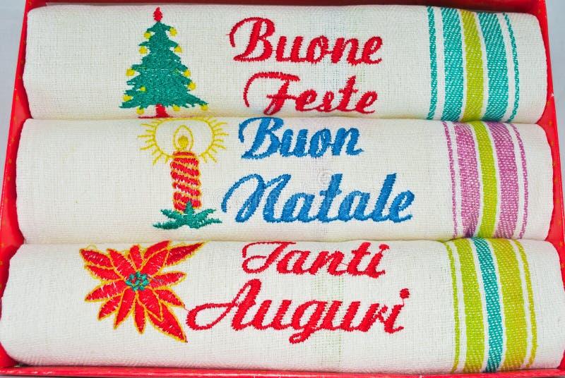 Servicio de mesa italiano del día de fiesta de invierno imagenes de archivo
