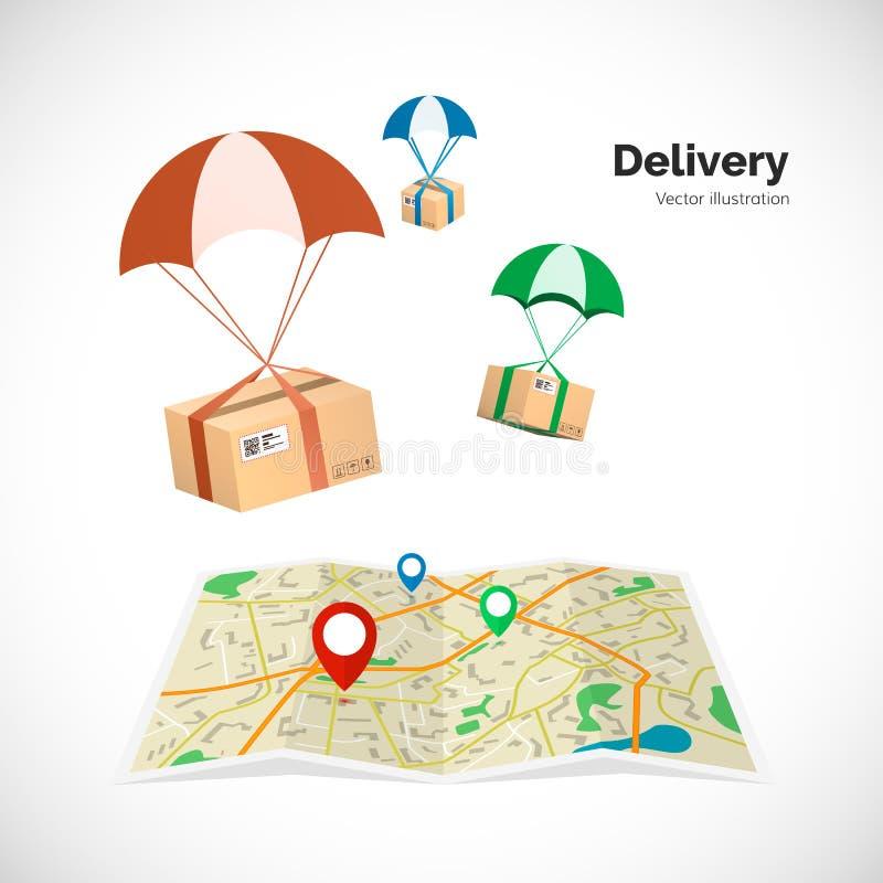 Servicio de salida Los paquetes vuelan al destino indicado en el mapa por el indicador Ilustración del vector ilustración del vector