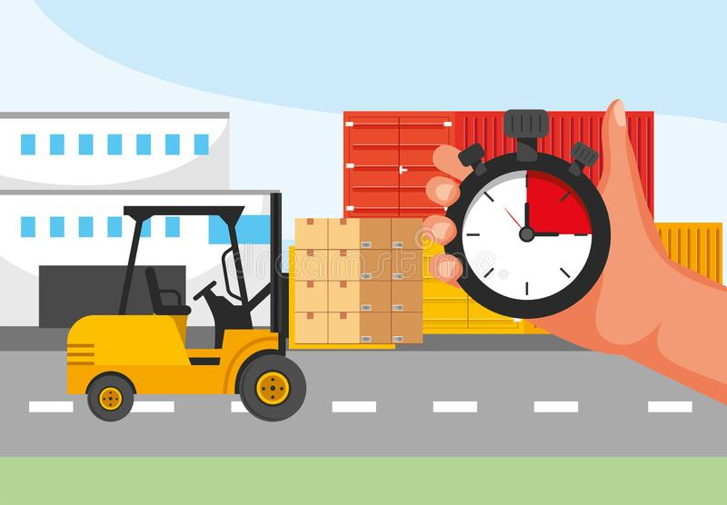 Servicio de transporte de la entrega con la carretilla elevadora y la mano con servicio del cronómetro ilustración del vector