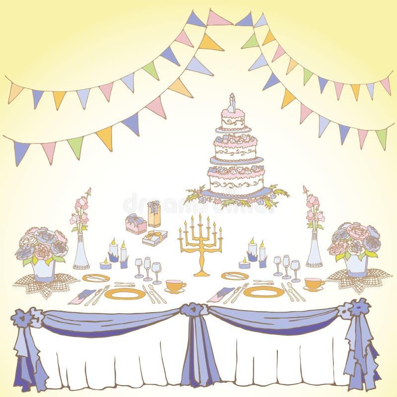 Servicio de un segundo amarillo violeta festivo stock de ilustración
