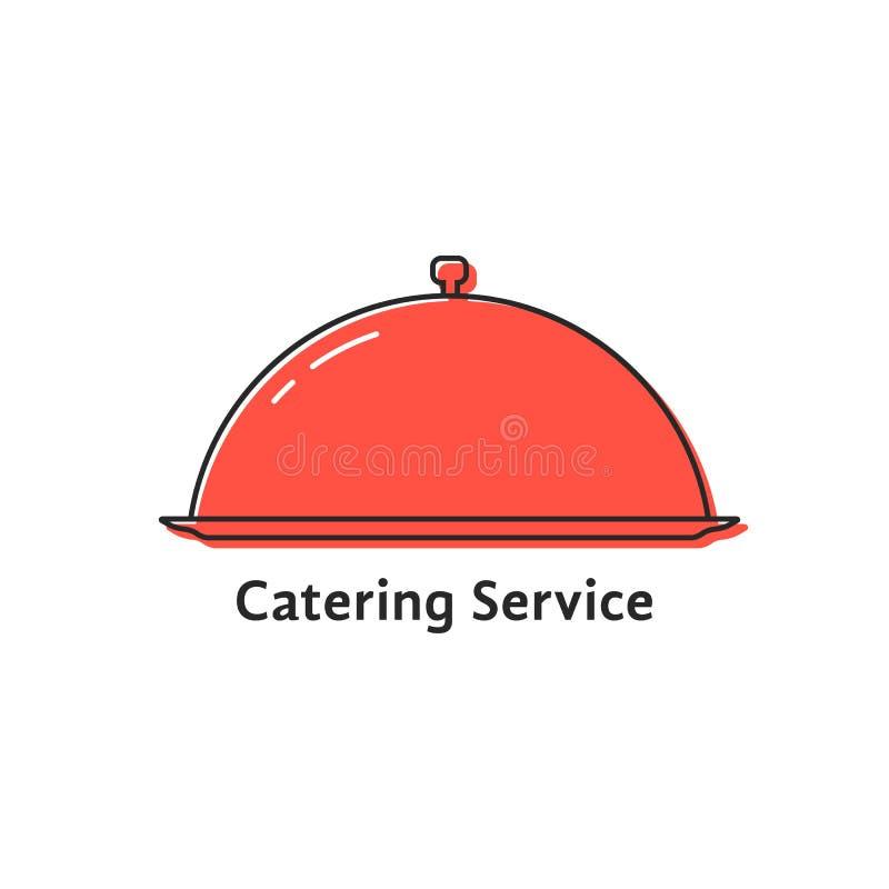 Servicio del abastecimiento con el plato linear rojo stock de ilustración