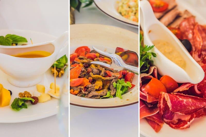 Servicio del abastecimiento Tabla del restaurante con la comida Enorme cantidad de comida en la tabla Placas de la comida Tiempo  fotos de archivo libres de regalías