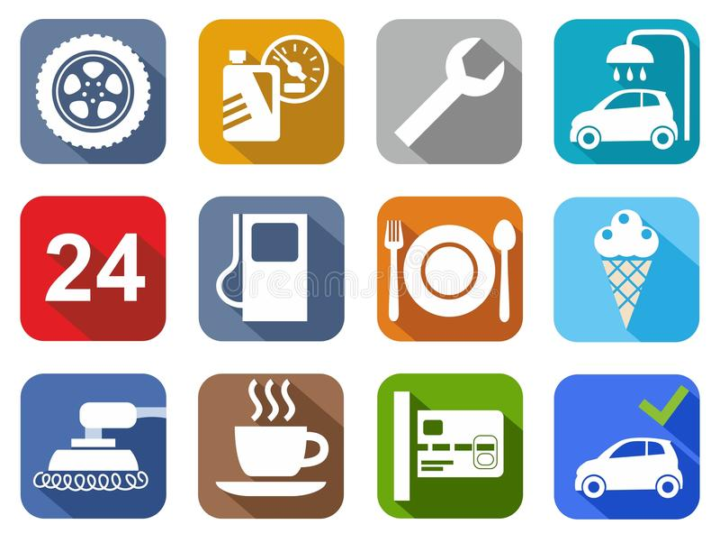 Servicio del coche de los iconos, túnel de lavado, puliendo, neumático, café, color, plano ilustración del vector
