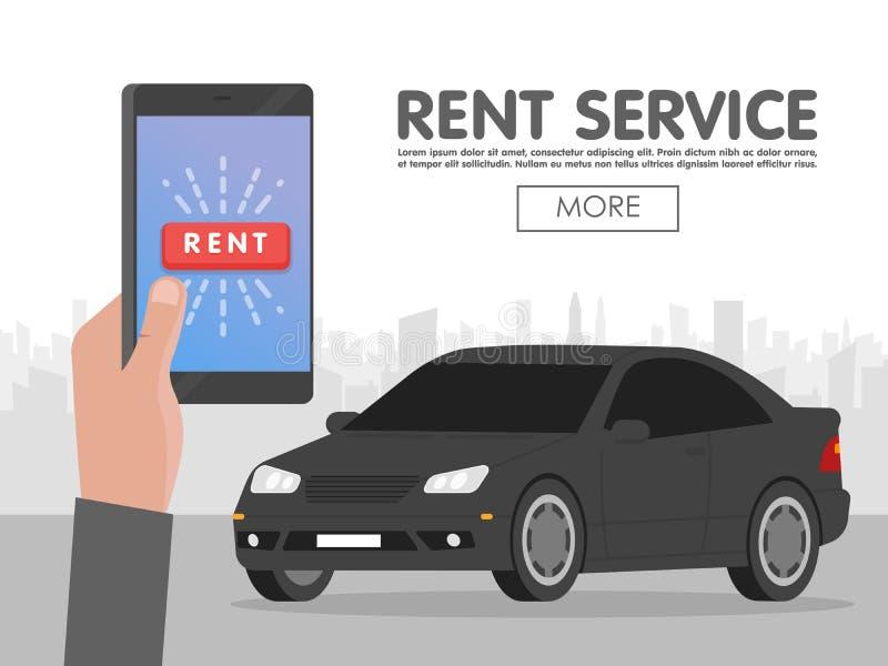 Servicio del coche del alquiler Concepto en línea de la reservación del teléfono Ilustración del vector ilustración del vector