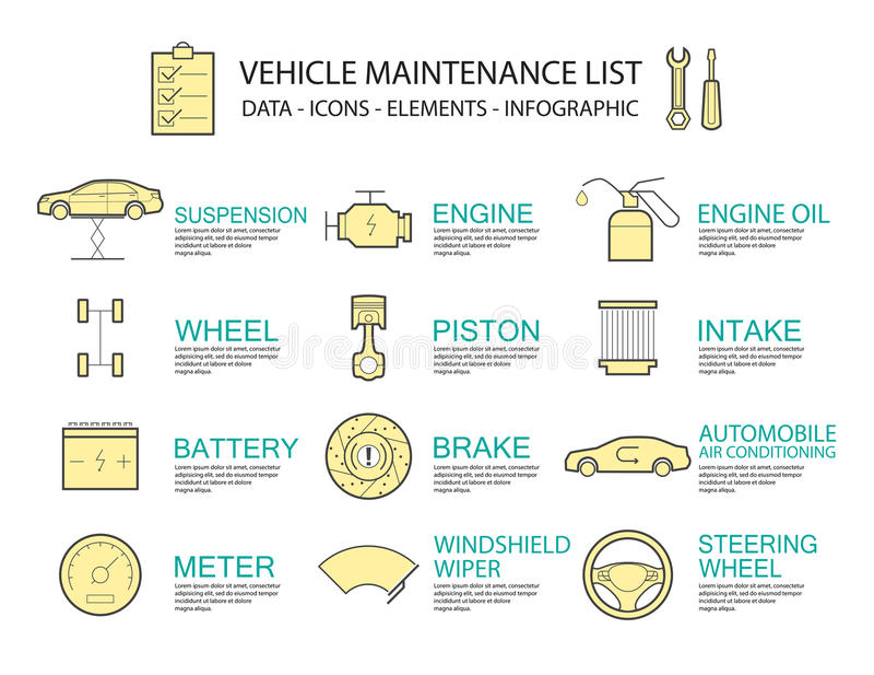 Servicio del coche del concepto de diseño de Infographic ilustración del vector