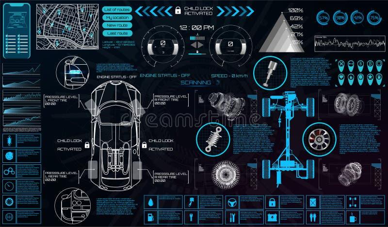 Servicio del coche en el estilo de HUD Interfaz virtual ilustración del vector
