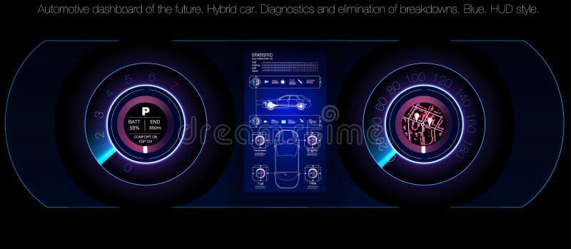 Servicio del coche en el estilo de HUD, del ui de los coches, del análisis y de diagnósticos infographic en el estilo del hud, in stock de ilustración