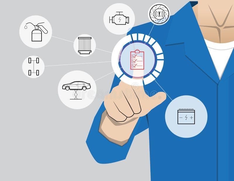 Servicio del coche, hombre de negocios que trabaja con tecnología virtual moderna, stock de ilustración