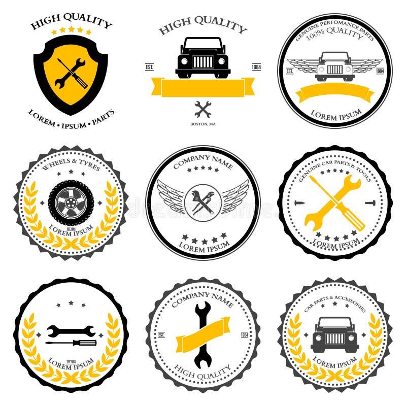 Servicio del coche Piezas de automóvil Iconos de las herramientas fijados Vector ilustración del vector