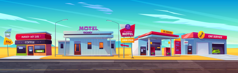 Servicio del motel del borde de la carretera, de la estación del aceite, del café y del coche ilustración del vector