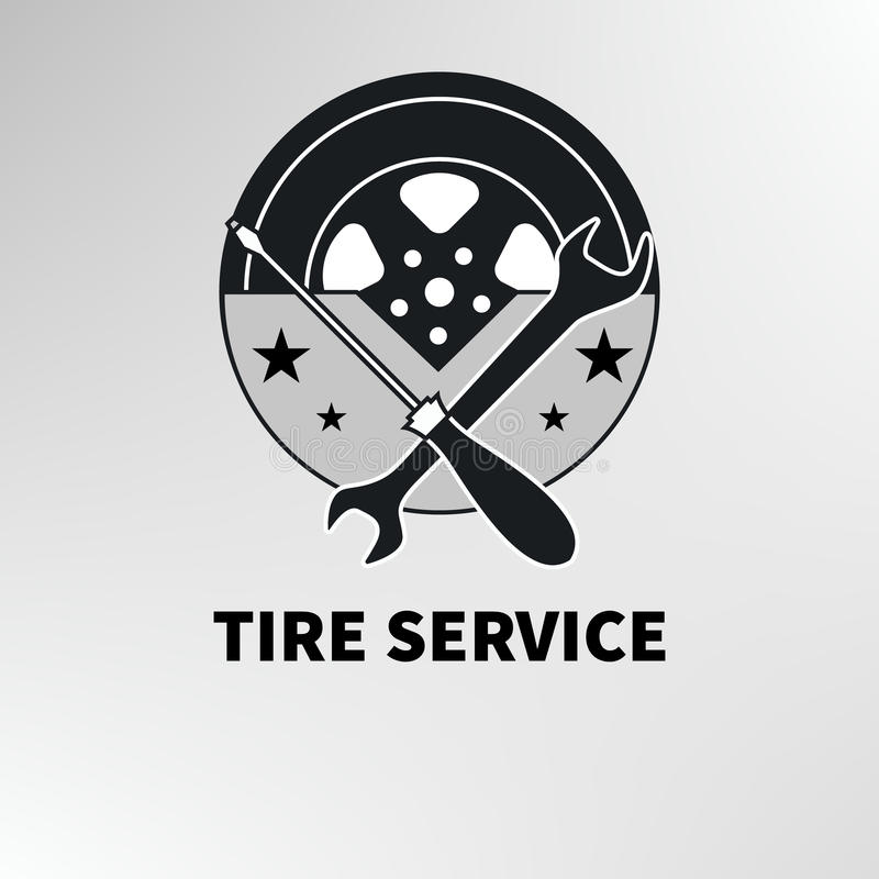 Servicio del neumático del logotipo stock de ilustración