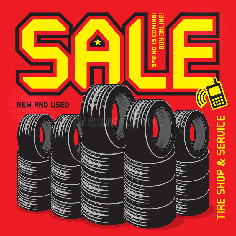 Servicio del neumático del vintage o cartel del garaje con venta del texto libre illustration