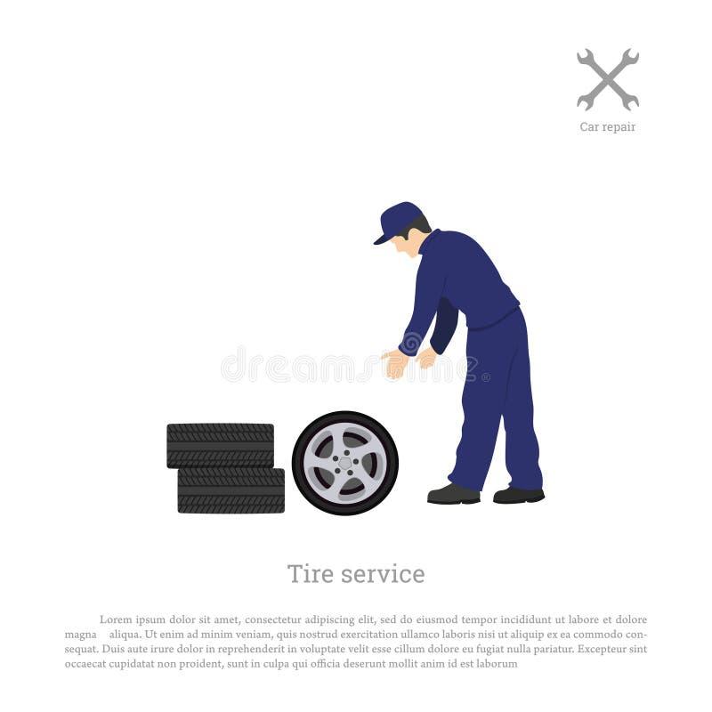 Servicio del neumático Mecánico que cambia una rueda de coche Reparación y mantenimiento Taller del vehículo libre illustration