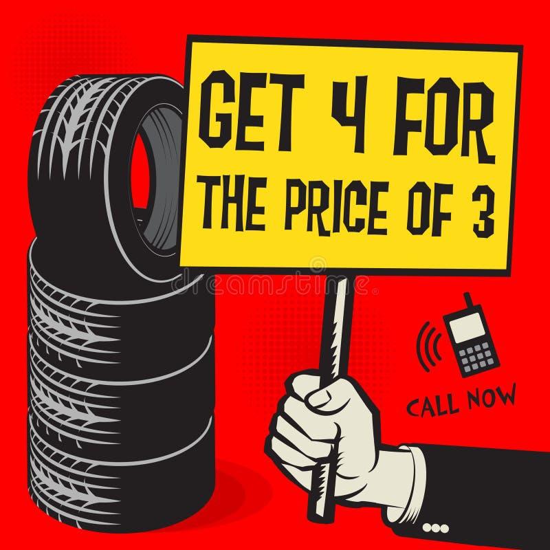 Servicio del neumático del vintage o cartel del garaje libre illustration