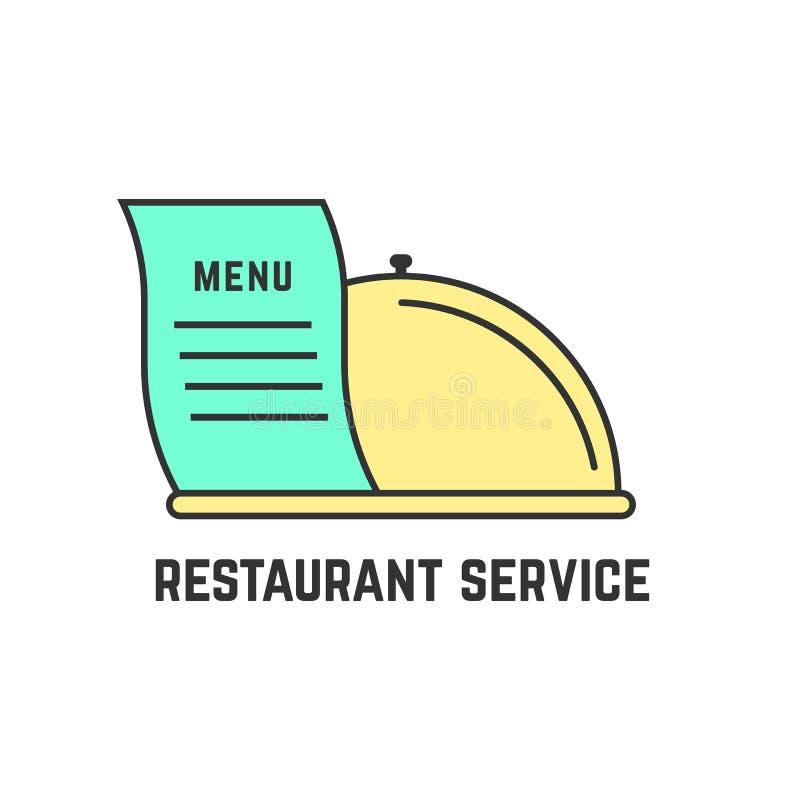 Servicio del restaurante con el plato del esquema libre illustration
