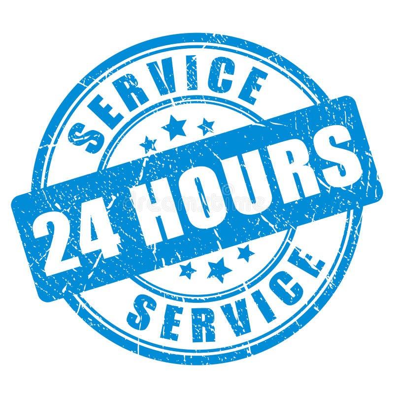 Servicio del sello de la tinta azul 24 horas stock de ilustración