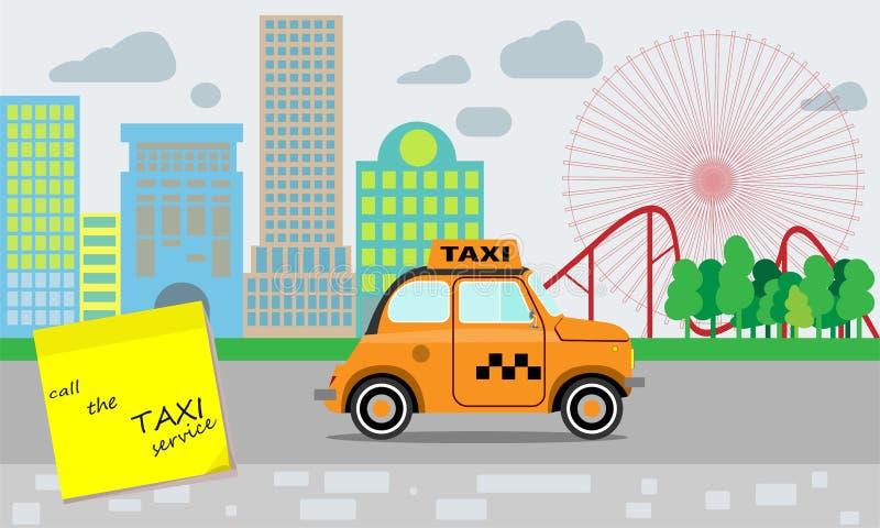 Servicio del taxi Taxi amarillo Recordatorio sobre la necesidad de llamar un servicio del taxi Un paisaje de la pequeña ciudad y  libre illustration