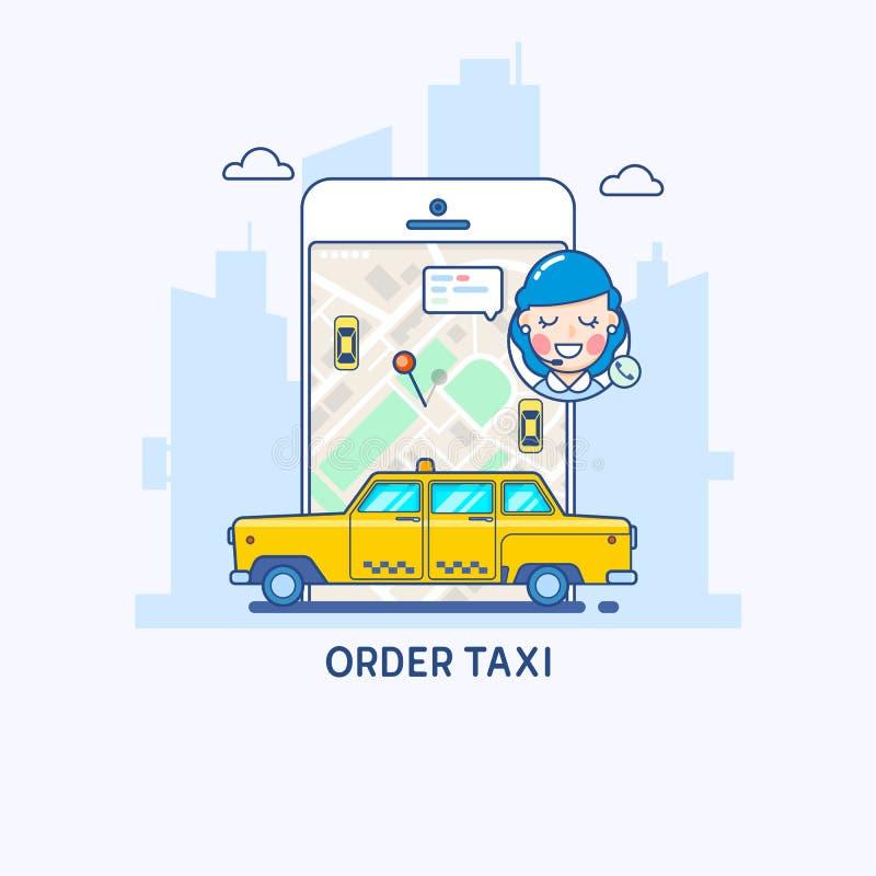 Servicio del taxi Ejemplo del app del taxi Línea fina concepto de diseño plano ilustración del vector