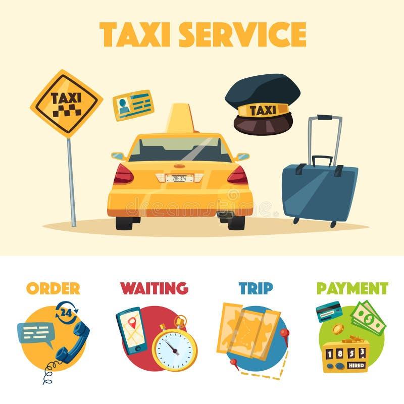 Servicio del taxi Ilustración del vector de la historieta ilustración del vector