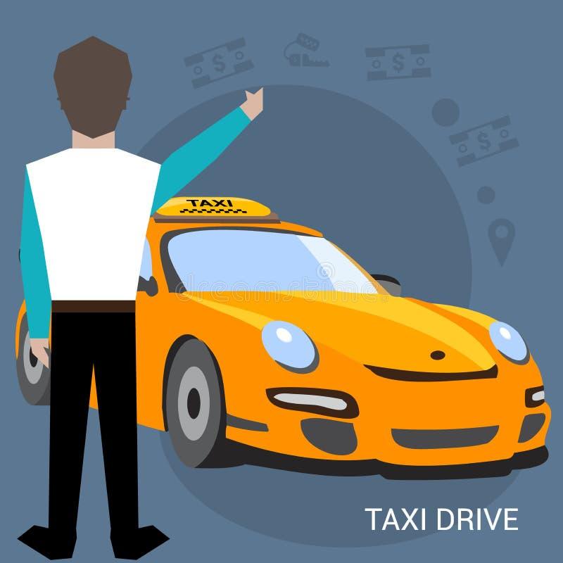 Servicio del taxi Smartphone y pantalla táctil Ejemplo del vector del cartel de la historieta Banderas para su diseño web en nego libre illustration