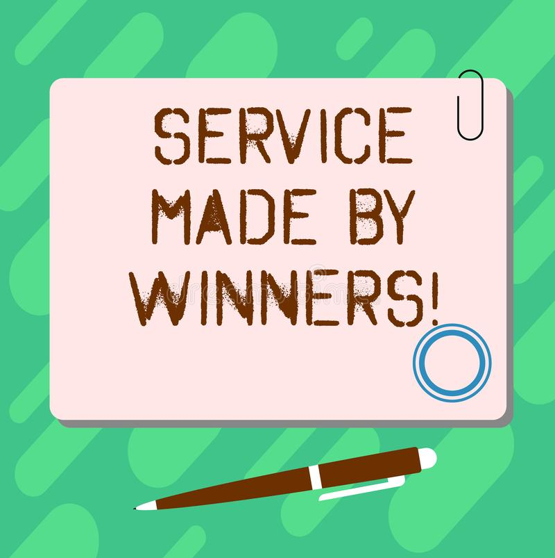 Servicio del texto de la escritura hecho por los ganadores Tablero cuadrado en blanco del color de la buena ayuda acertada excele ilustración del vector