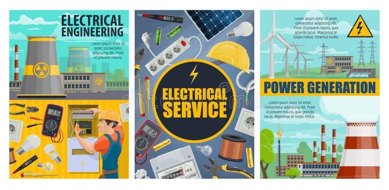 Servicio eléctrico, ingeniería, centrales eléctricas stock de ilustración