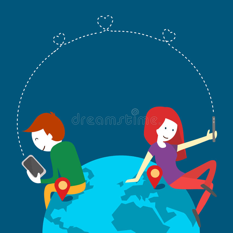 Servicio en línea de la datación, comunicación virtual y amor de la búsqueda en Internet Diseño plano ilustración del vector