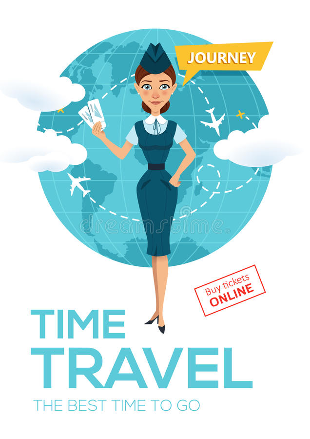 Servicio en línea de la reservación del vuelo Cartel de la publicidad, bandera La azafata guarda billetes y ofertas de avión para libre illustration
