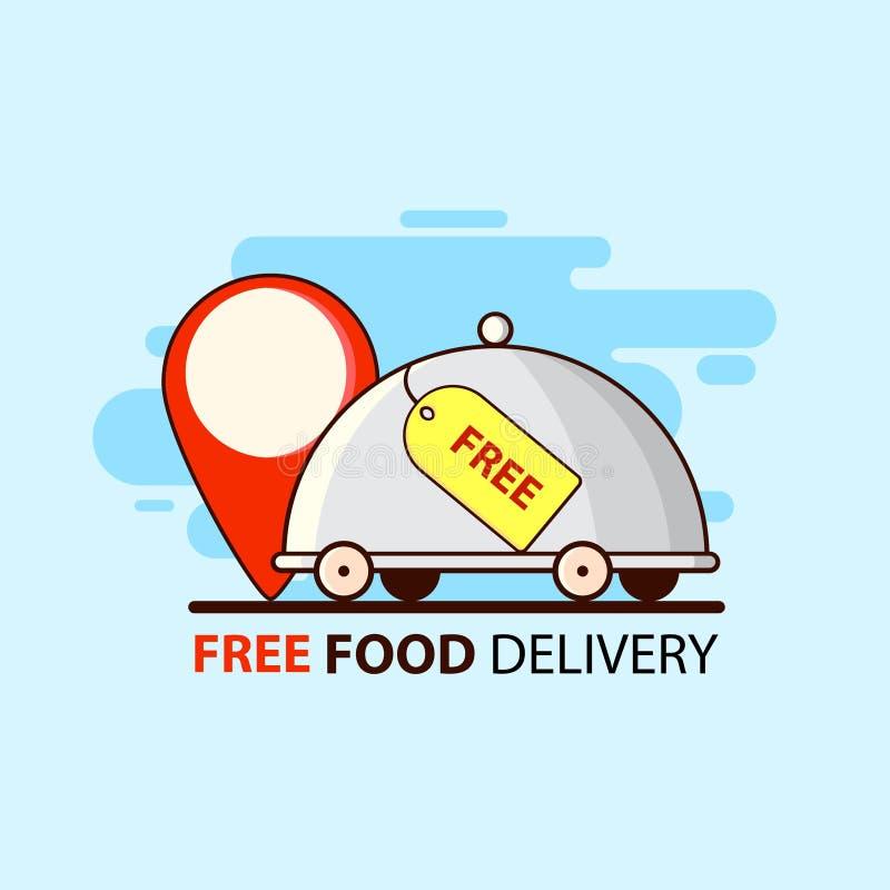 Servicio gratuito Entrega libre de la comida en estilo plano con la comida y el punto del restaurante Dise?o del ejemplo del vect stock de ilustración