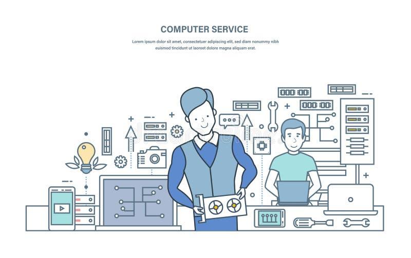 Servicio informático Reparación, mantenimiento del equipo en centro de servicio libre illustration
