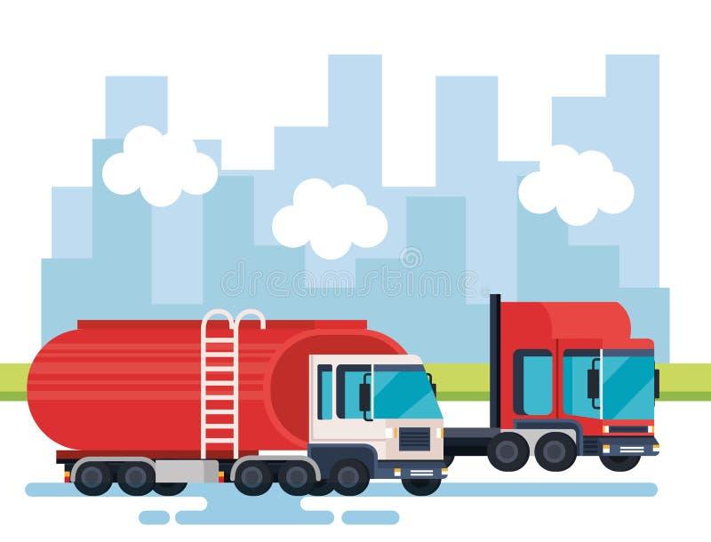 Servicio logístico de los camiones de petrolero stock de ilustración