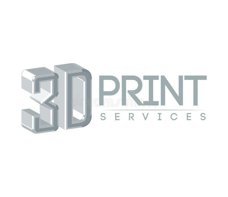 servicio Logo Design de la impresión 3D ilustración del vector
