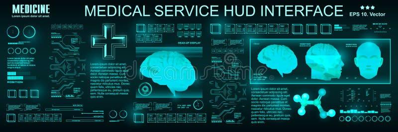 Servicio médico HUD, interfaz de usuario gráfica virtual futurista del tacto Exploración del cerebro Usuario gráfico virtual médi stock de ilustración