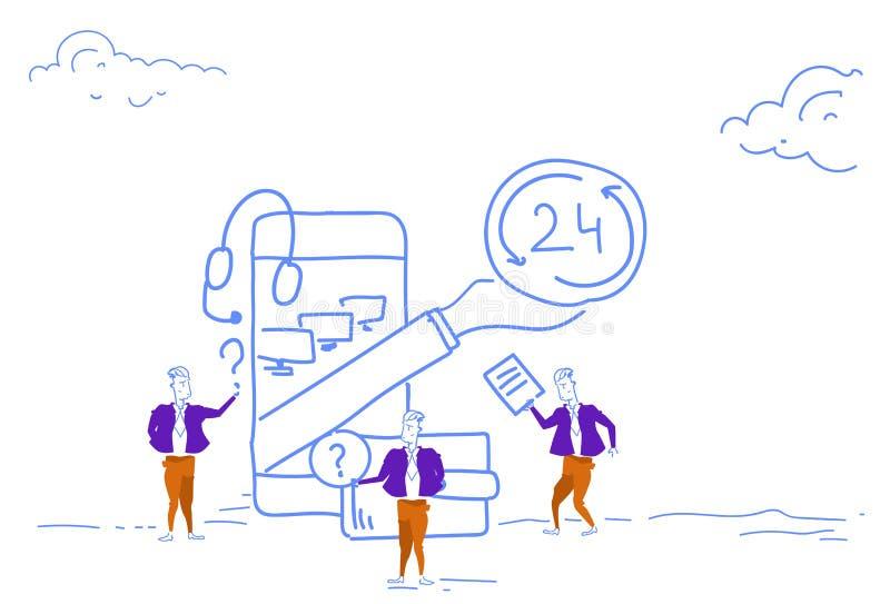 Servicio online de la ayuda de los hombres de negocios 24 horas del concepto de la aplicación móvil de Internet del centro de ate libre illustration