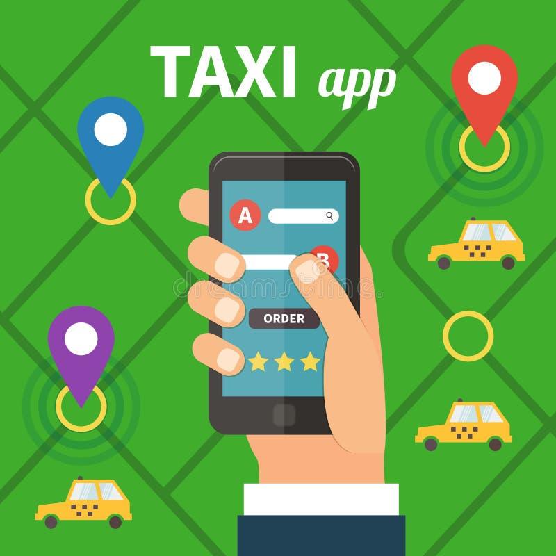 Servicio online público del taxi, aplicación móvil stock de ilustración