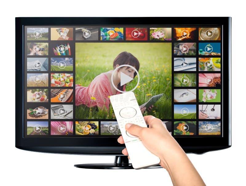 Servicio a pedido de VOD del vídeo en la TV fotos de archivo libres de regalías
