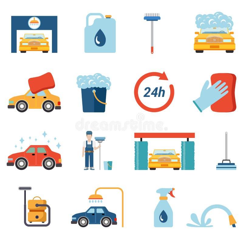 Servicio plano de la limpieza del túnel de lavado del vector: trabajador del limpiador de la espuma de la cera ilustración del vector