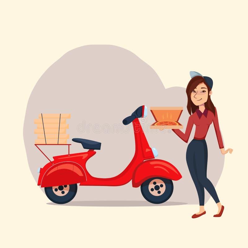 Servicio rápido de la pizza de la entrega en vespa con el mensajero Ejemplo del carácter de la muchacha de la historieta del vect stock de ilustración