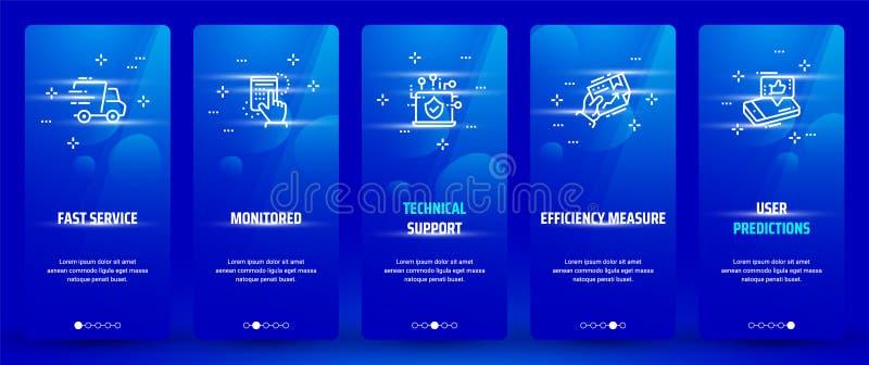Servicio rápido, supervisado, soporte técnico, medida de la eficacia, tarjetas verticales de las predicciones del usuario con las libre illustration