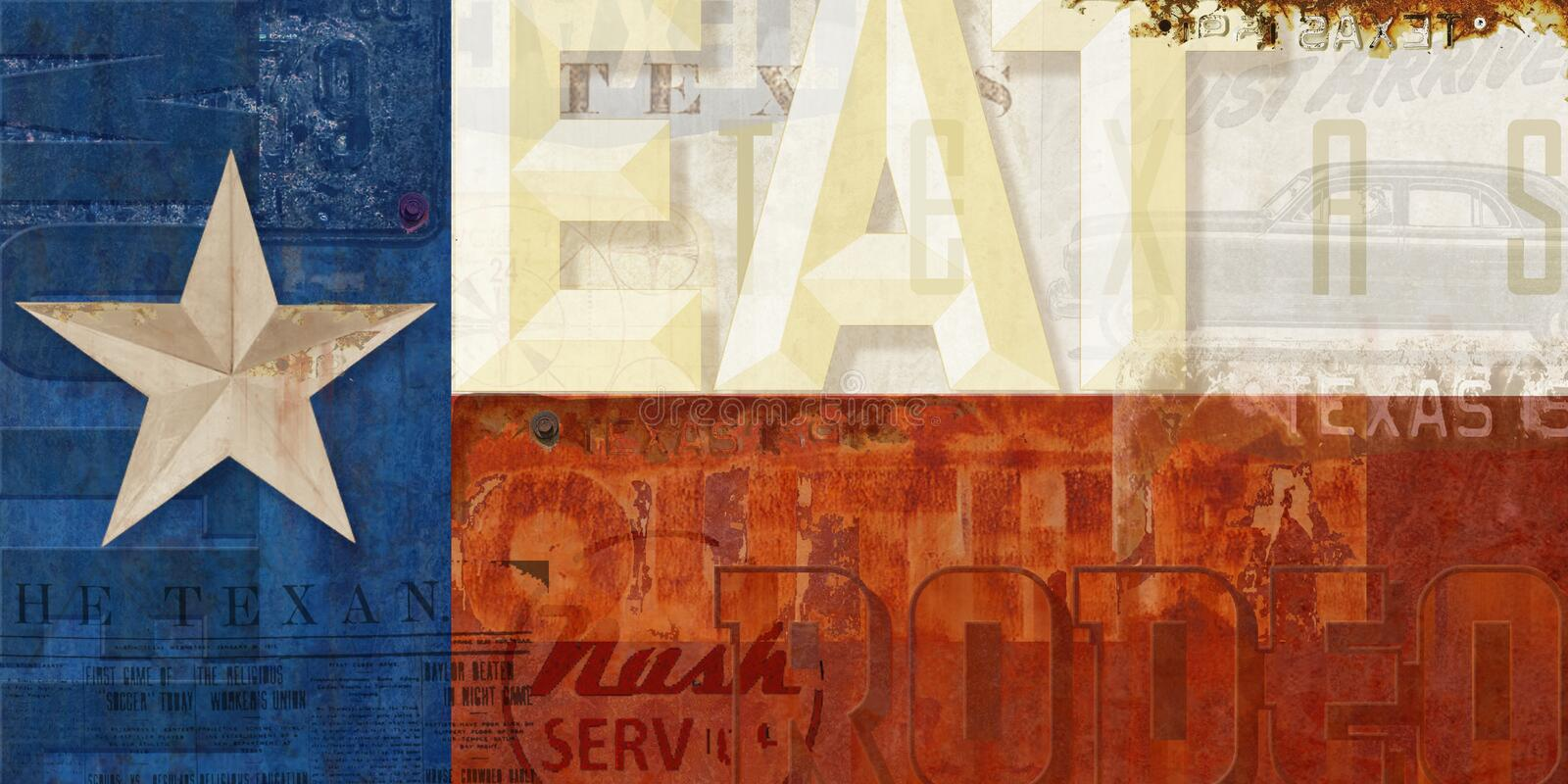 Servicio Route 66 del motel de Texas Flag Grunge Eat Rodeo ilustración del vector
