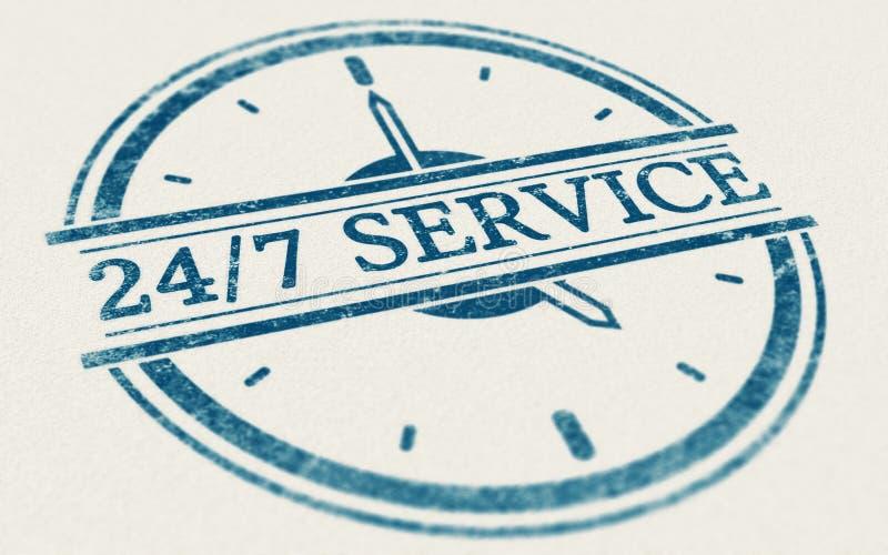 Servicio siempre abierto, 24 horas y 7 días a la semana stock de ilustración