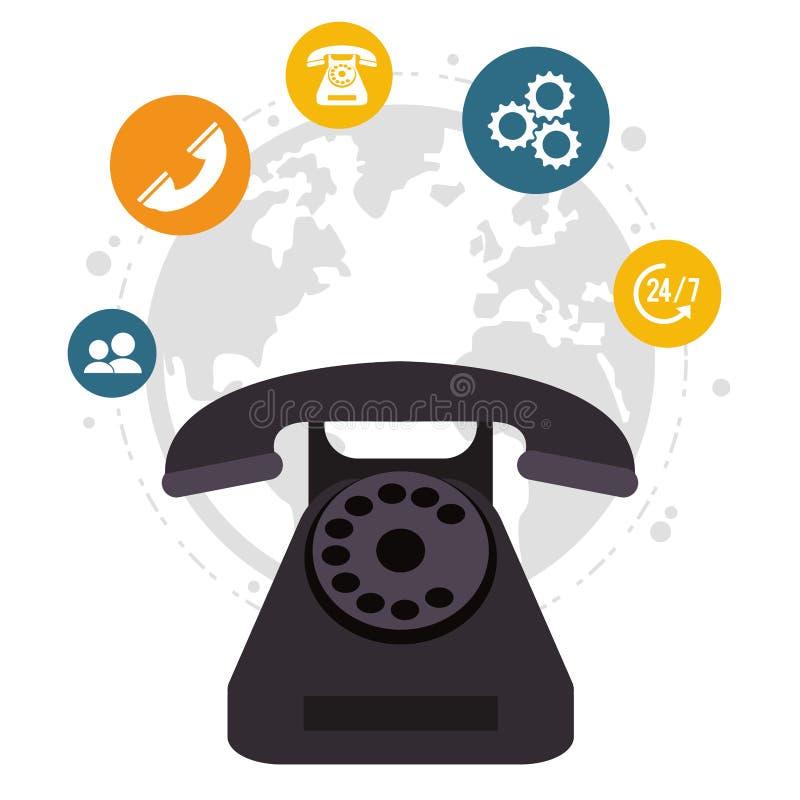 Servicio todo el día global del centro de atención telefónica del teléfono stock de ilustración