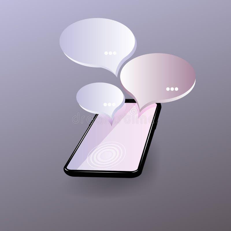 Servicio vivo de la charla, comunicaci?n social de los medios, establecimiento de una red, charlando, concepto isom?trico de la m ilustración del vector
