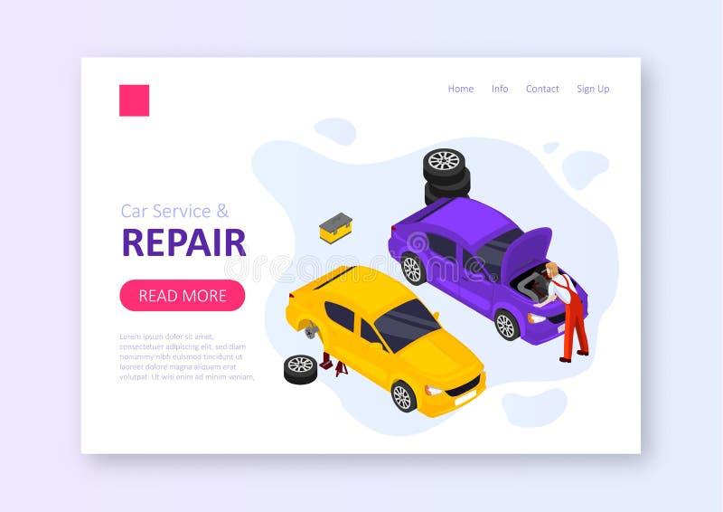 Servicio y reparaci?n del coche stock de ilustración