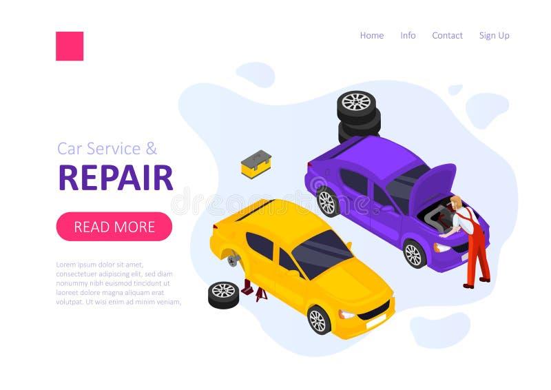 Servicio y reparaci?n del coche ilustración del vector