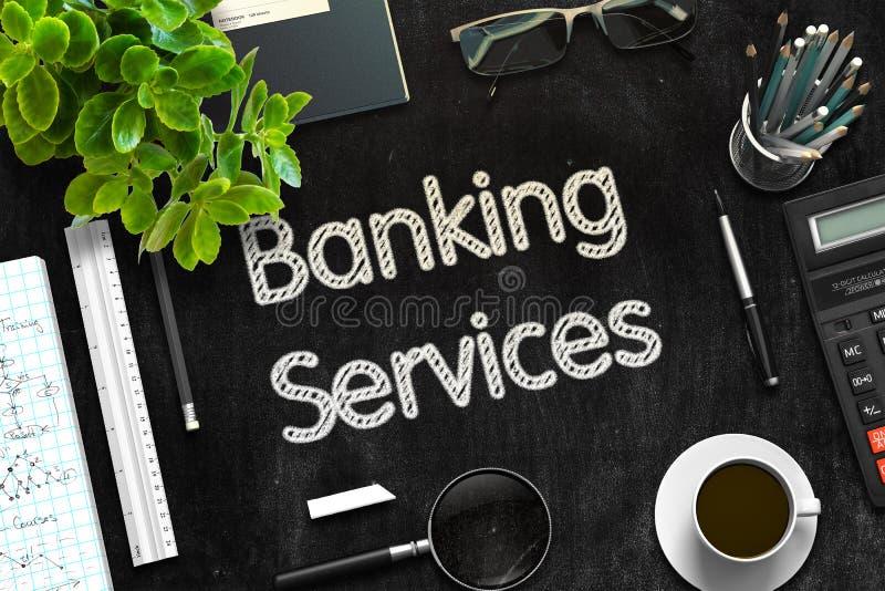 Servicios bancarios en la pizarra negra representación 3d imagenes de archivo