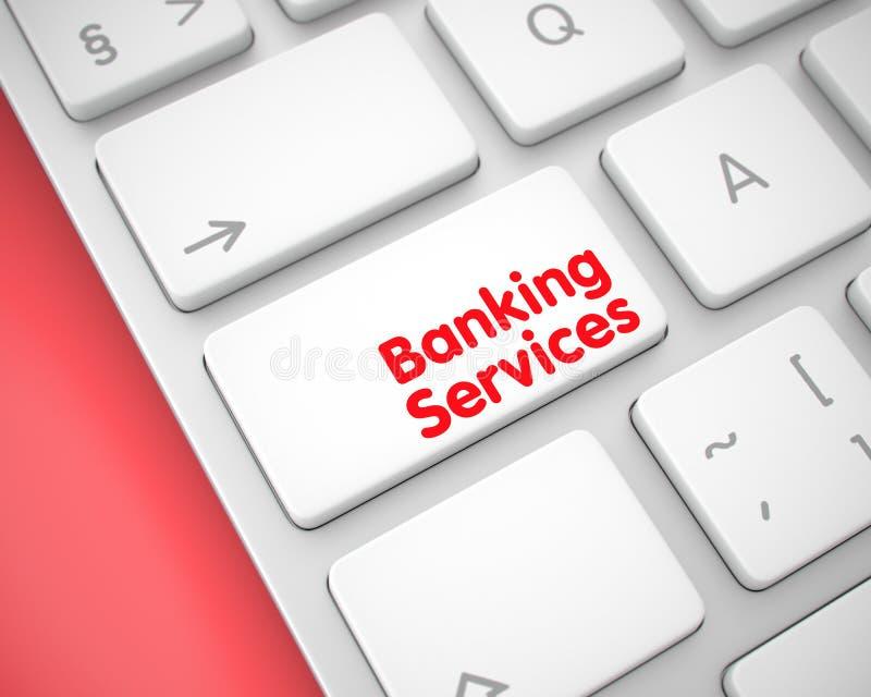 Servicios bancarios - mensaje en la llave de teclado blanca 3d stock de ilustración