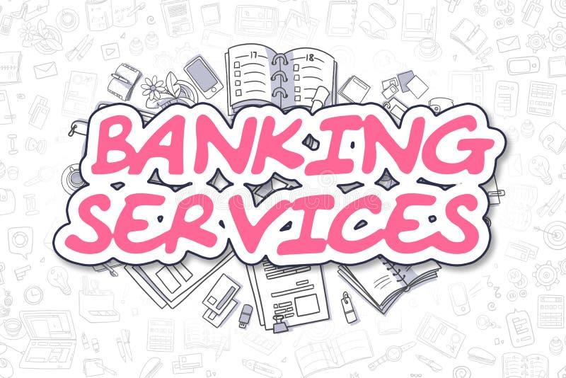Servicios bancarios - palabra de la magenta de la historieta Concepto del asunto stock de ilustración