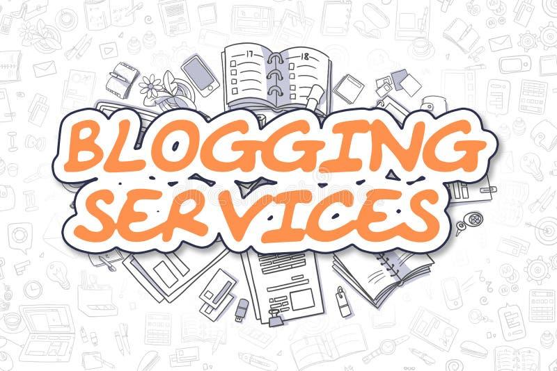 Servicios Blogging - texto de la naranja de la historieta Concepto del asunto stock de ilustración