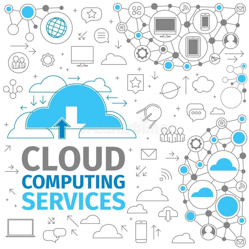 Servicios computacionales de la nube ilustración del vector